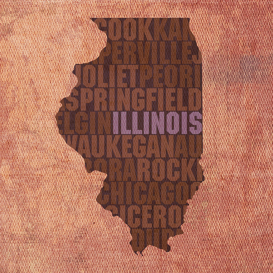 Illinois State Word Art On Canvas Mixed Media by Design Turnpike