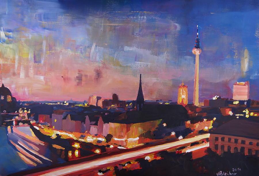 Berlin Painting - Illuminated Berlin Skyline At Dusk  by M Bleichner