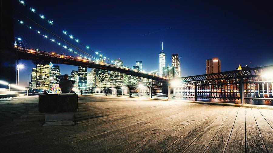 Illuminated Brooklyn Bridge By City Photograph by Arnaud Mallen / Eyeem