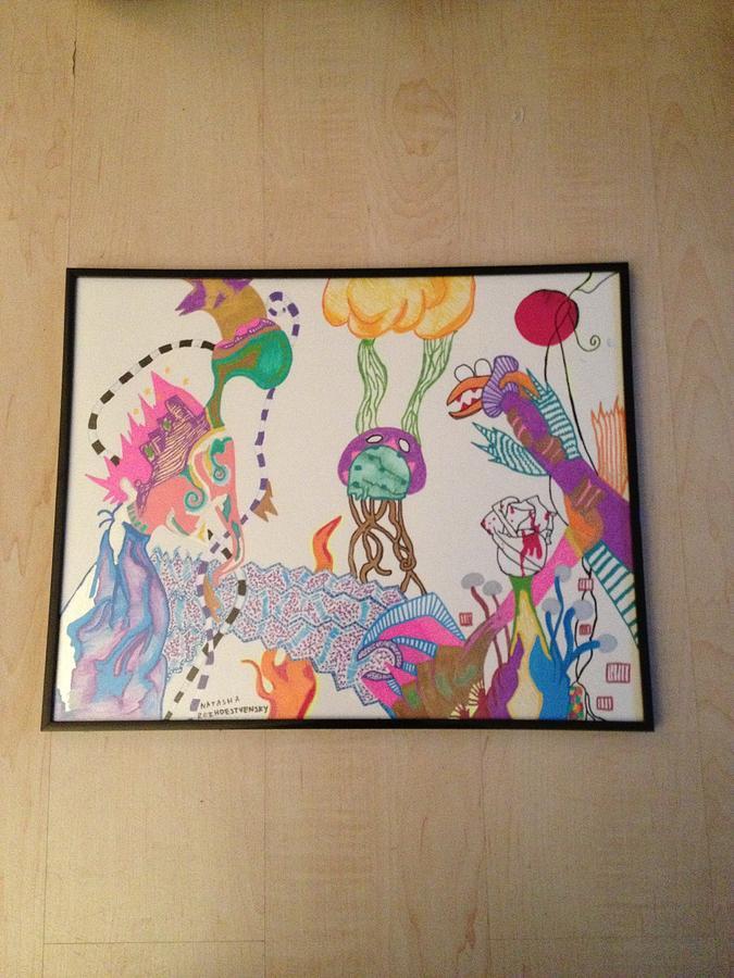 Octupus Drawing - Illuminated Existence by Natasha  Rozhdestvensky
