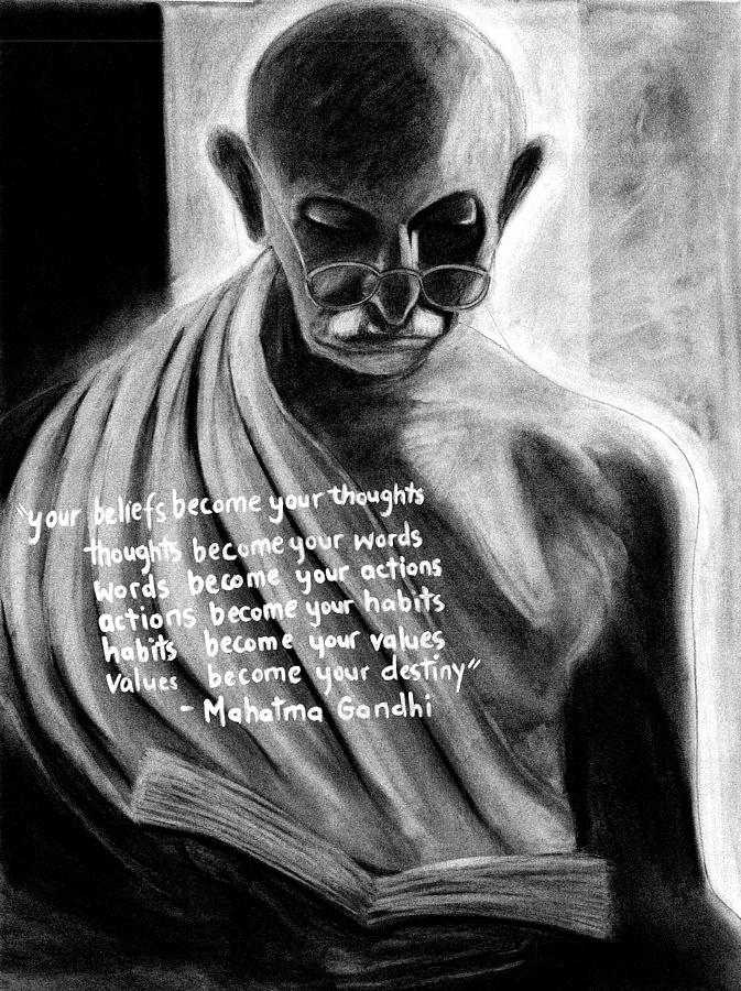 Mahatma Gandhi Drawing - Illuminated Gandhi by Naresh Sukhu