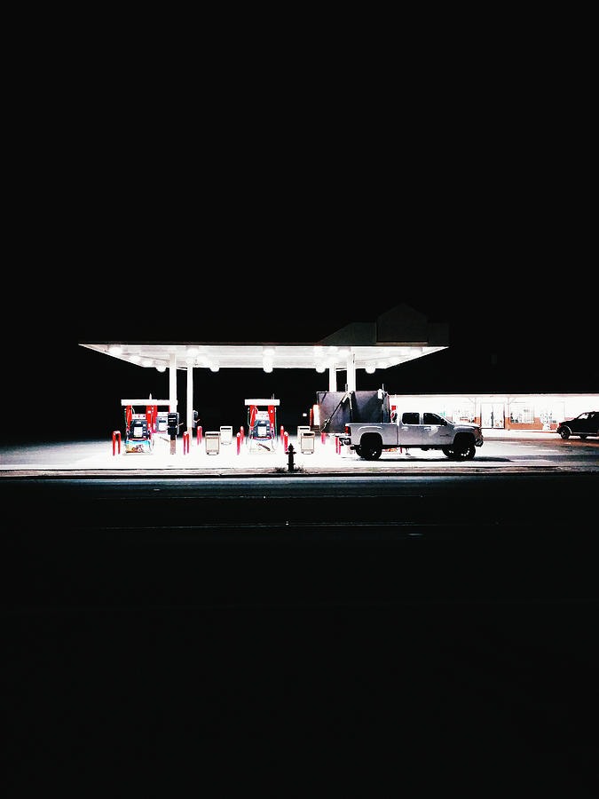 Illuminated Gas Station With Car At Photograph by Constantin Renner / Eyeem
