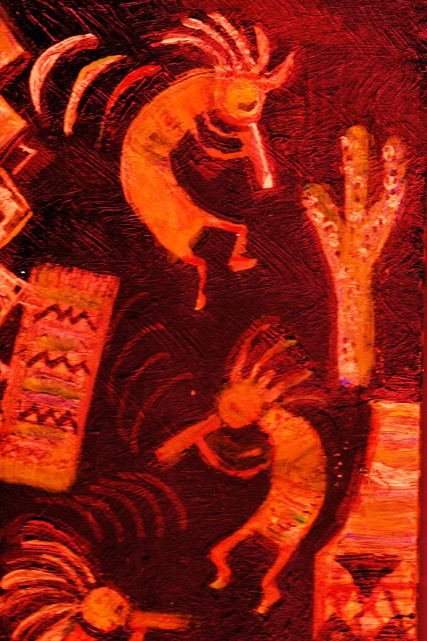 Kokopelli Painting - Illuminated Kokopellis by Anne-Elizabeth Whiteway