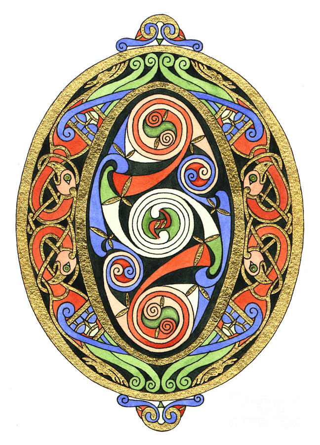 Celtic Painting - Illuminated O by Cari Buziak