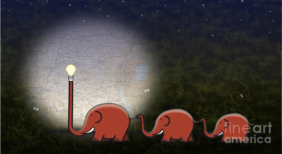 Elephant Digital Art - Illumination by Sassan Filsoof