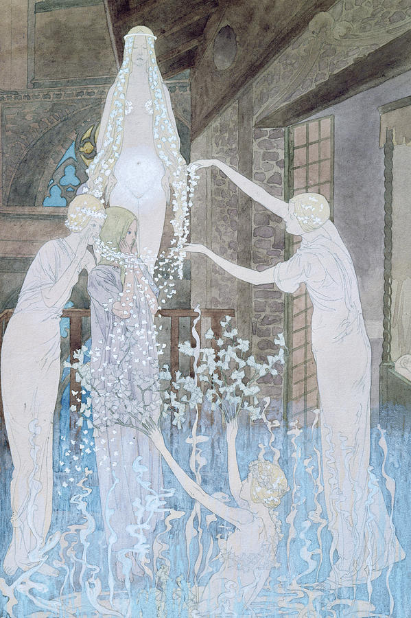 Le Reve Painting - Illustation From Le Reve by Carlos Schwabe