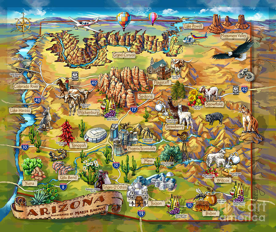 Landscape Painting - Illustrated Map Of Arizona by Maria Rabinky