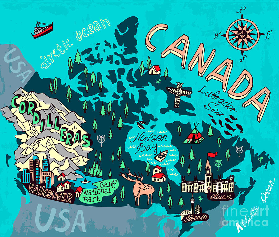 Country Digital Art - Illustrated Map Of Canada. Travel by Daria i