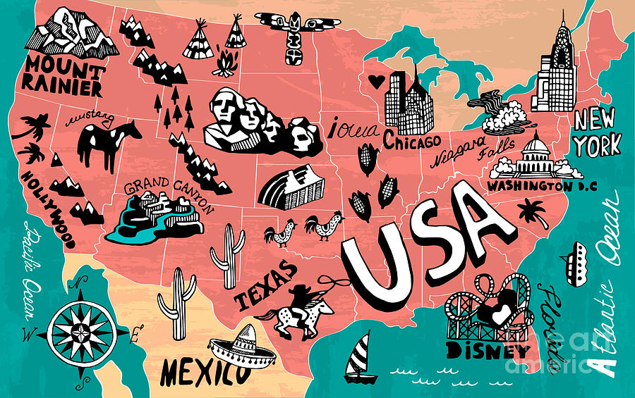 Country Digital Art - Illustrated Map Of Usa by Daria i