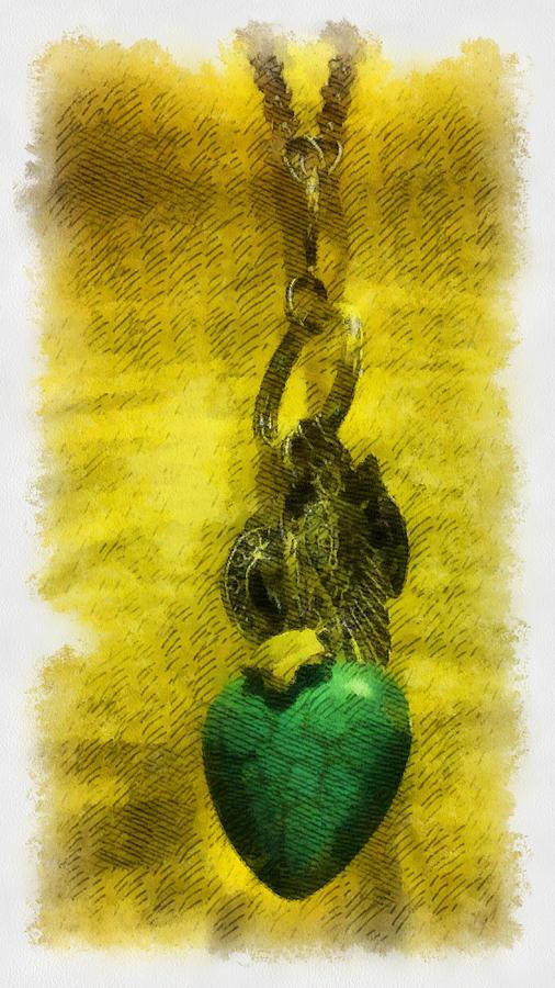 Illustration Digital Art - Illustrated Turquoise Heart I by Lorri Crossno