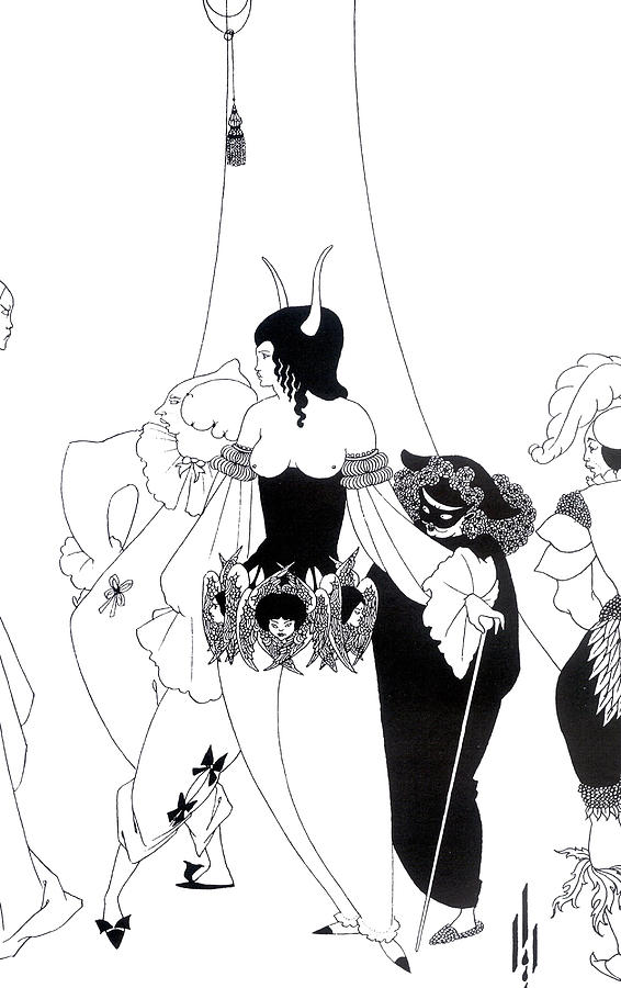 Ink Drawing - Illustration For The Masque Of The Red Death by Aubrey Beardsley