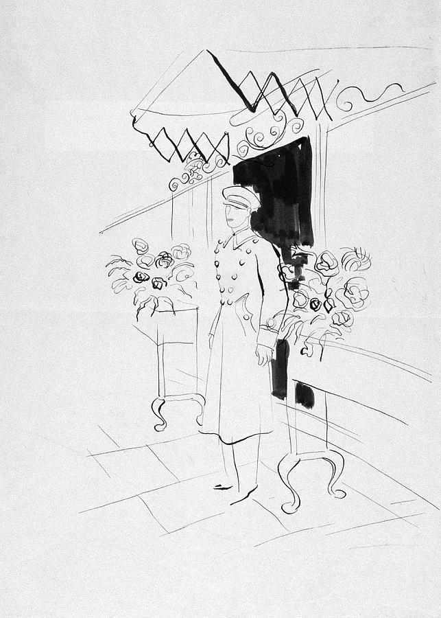 Illustration Of A Doorman Digital Art by Rene Bouet-Willaumez
