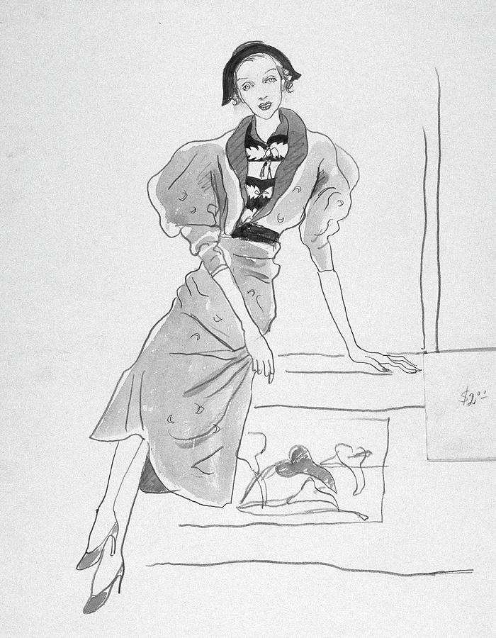 Illustration Of A Fashionable Woman Digital Art by Cecil Beaton