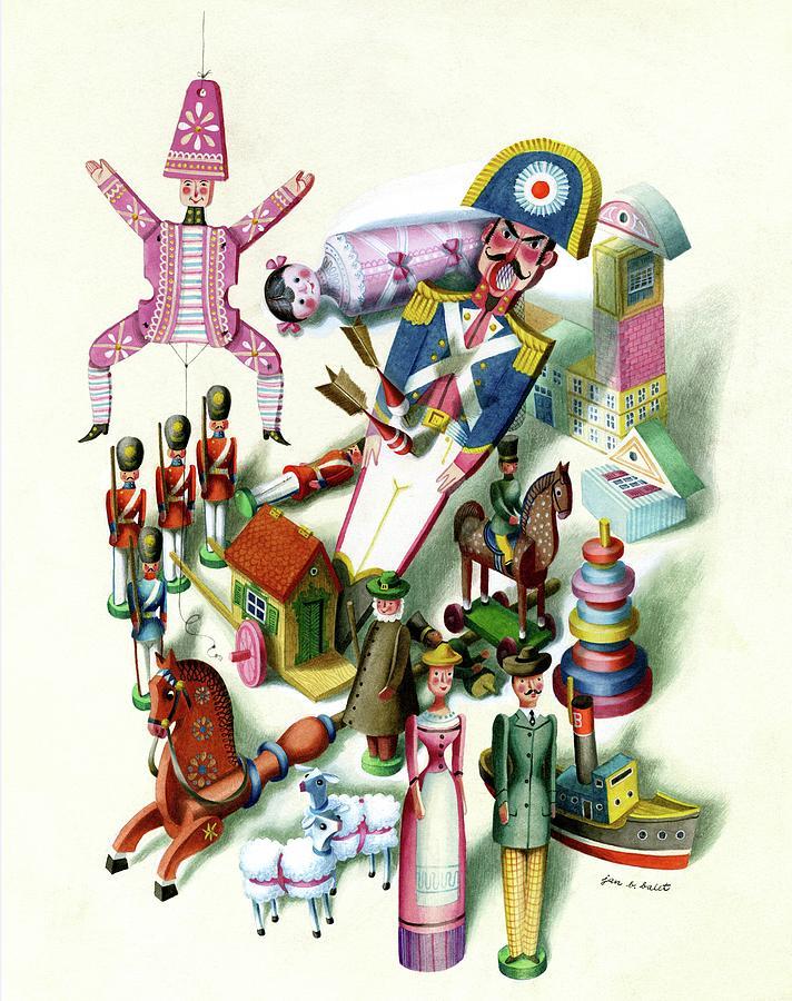 Illustration Of A Group Of Childrens Toys Digital Art by Jan B. Balet