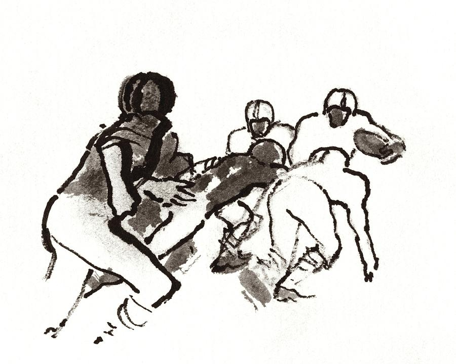 Illustration Of A Group Of Football Players Digital Art by Carl Oscar August Erickson