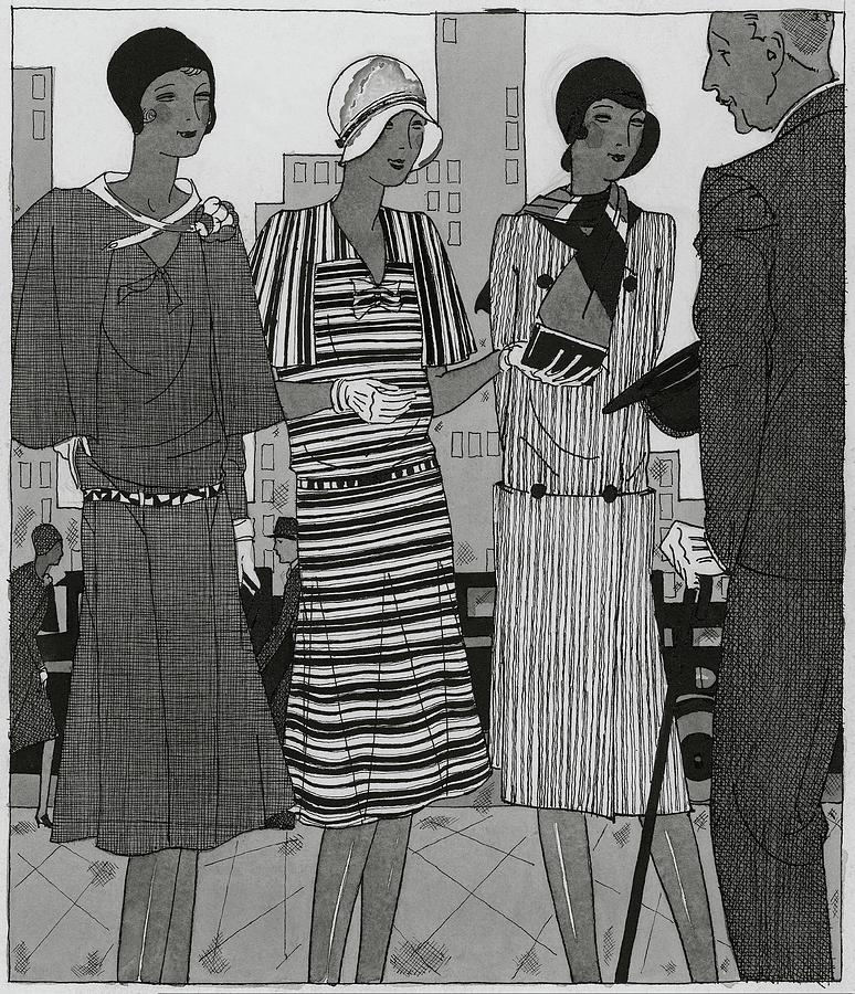 Illustration Of A Man And Three Fashionable Women Digital Art by Jean Pages