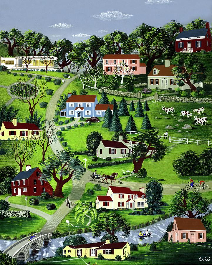 Illustration Of A Village Digital Art by Victor Bobritsky