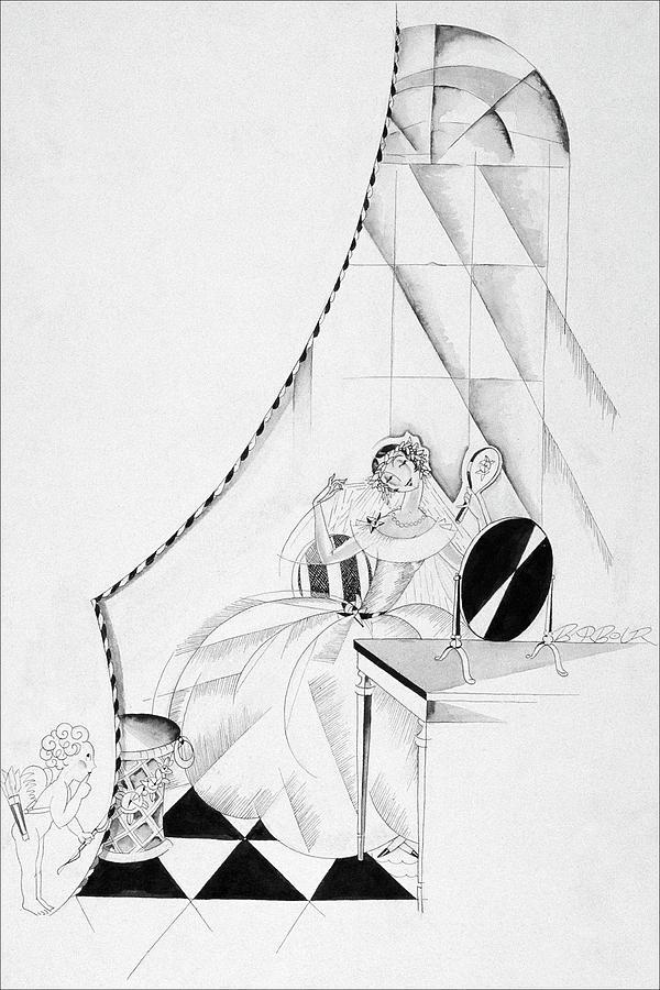 Illustration Of A Woman In A Wedding Dress Digital Art by John Barbour