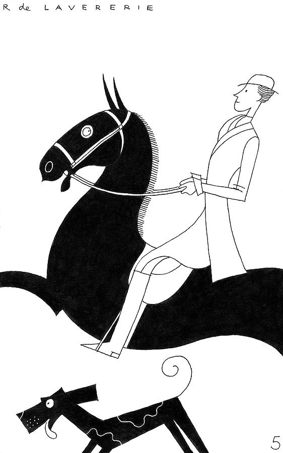 Illustration Of A Woman On A Horse Photograph by Raymond de Lavererie
