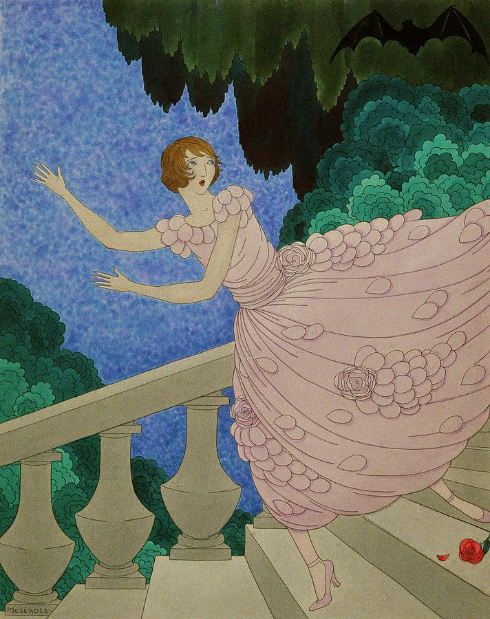 Illustration Of A Woman Running Down A Staircase Digital Art by Harriet Meserole