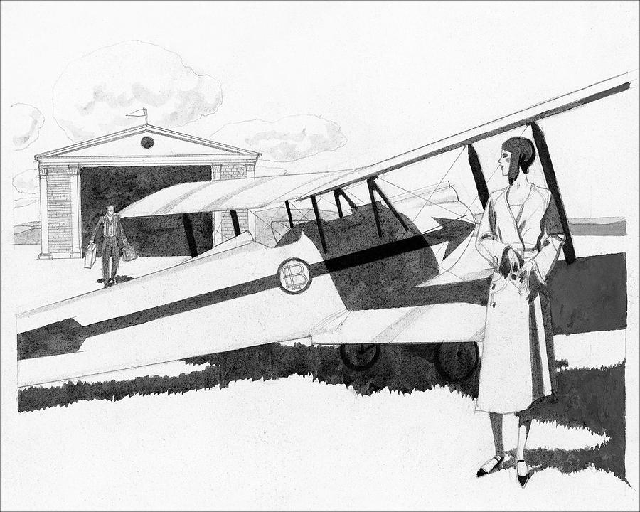 Illustration Of A Woman Standing Next To A Biplane Digital Art by Pierre Mourgue