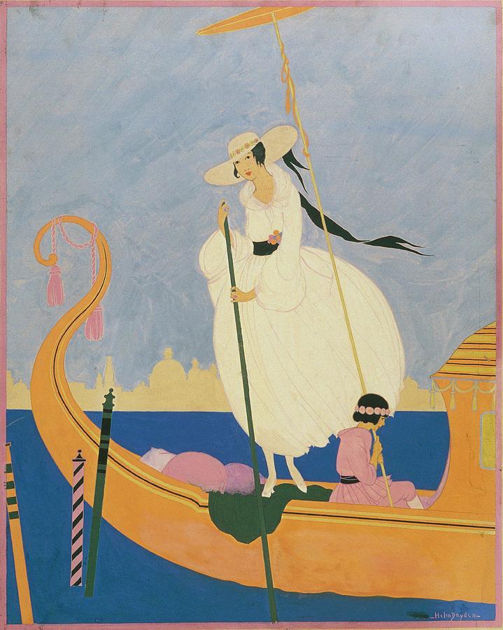 Illustration Of A Woman Standing On A Gondola Digital Art by Helen Dryden