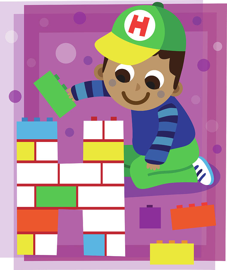 Artwork Photograph - Illustration Of Boy Making Letter H With Blocks by Fanatic Studio / Science Photo Library