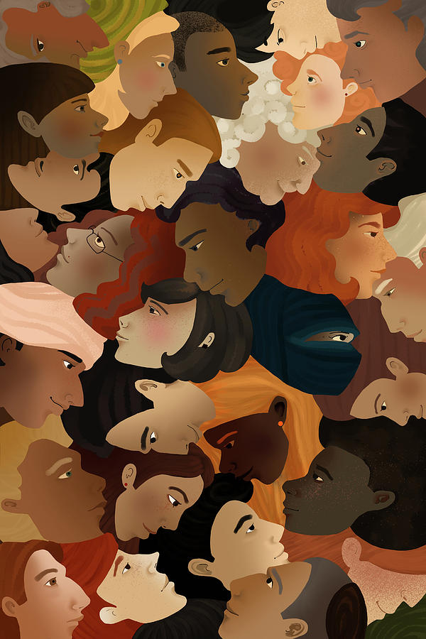 Backgrounds Photograph - Illustration Of Crowd by Fanatic Studio / Science Photo Library