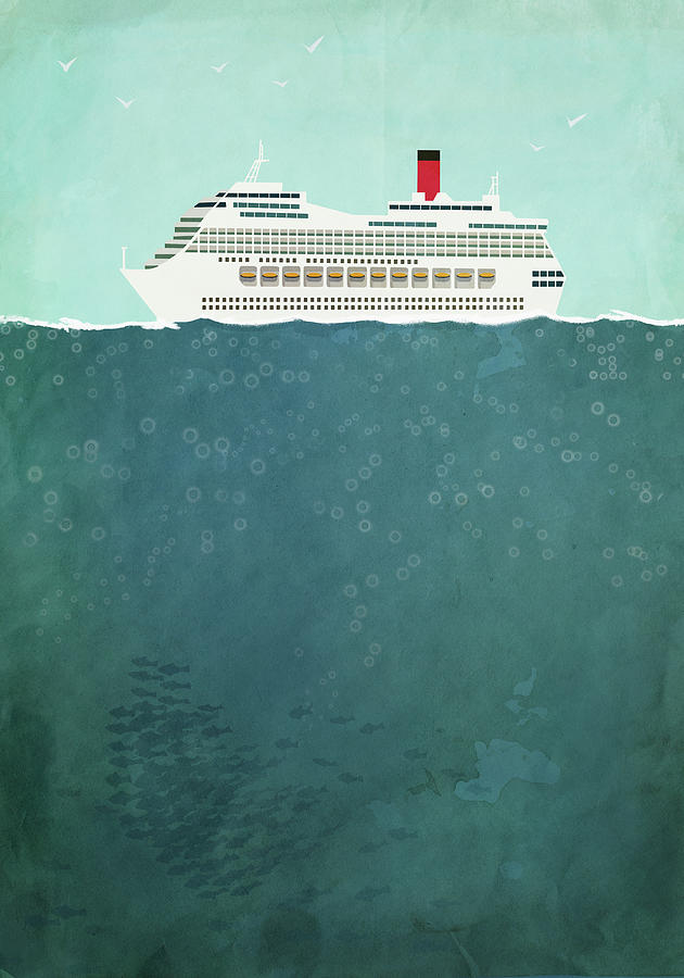 Illustration Of Cruise Ship Sailing On Digital Art by Malte Mueller