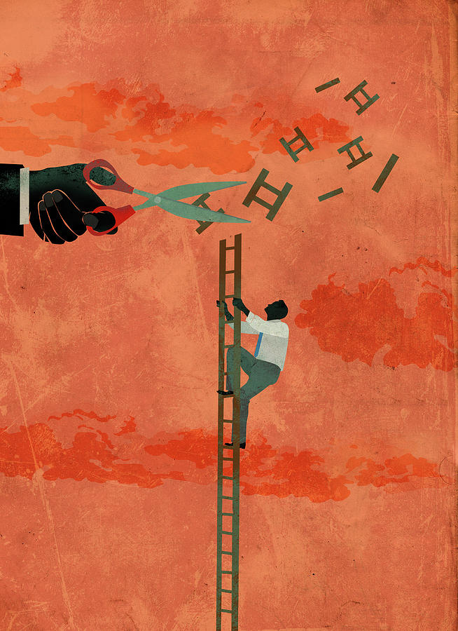 Ambition Photograph - Illustration Of Determined Businessman Climbing Ladder by Fanatic Studio / Science Photo Library