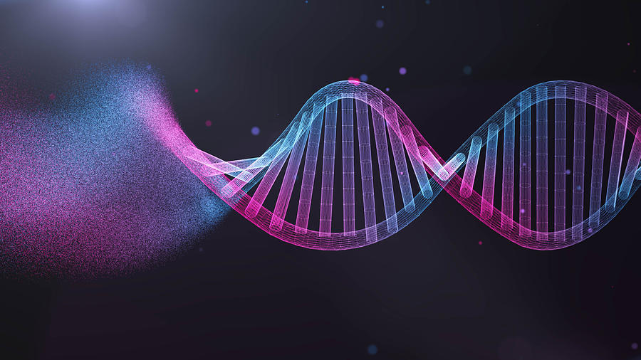 illustration of DNA  Futuristic digital Abstract  background for Science and technology Photograph by MR.Cole_Photographer