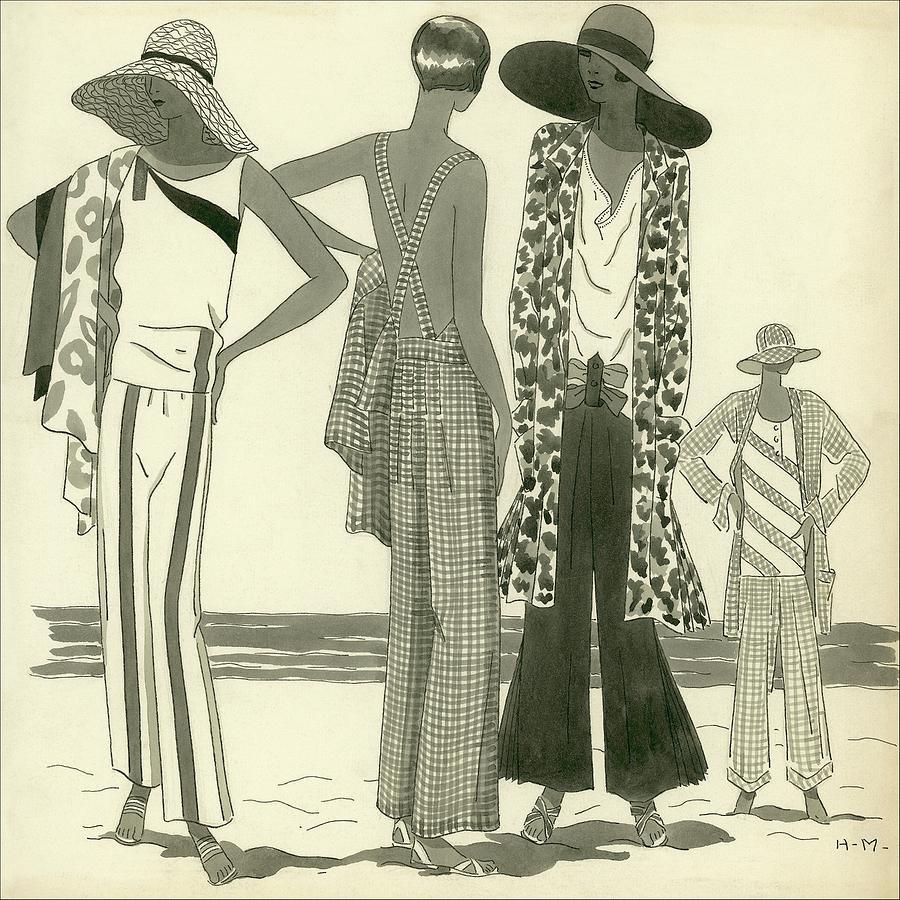 Illustration Of Four Women At A Beach Digital Art by Harriet Meserole