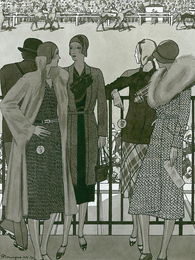 Illustration Of Four Women At The Grand National Digital Art by Pierre Mourgue