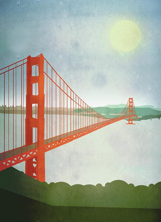 Illustration Of Golden Gate Bridge Over Digital Art by Malte Mueller