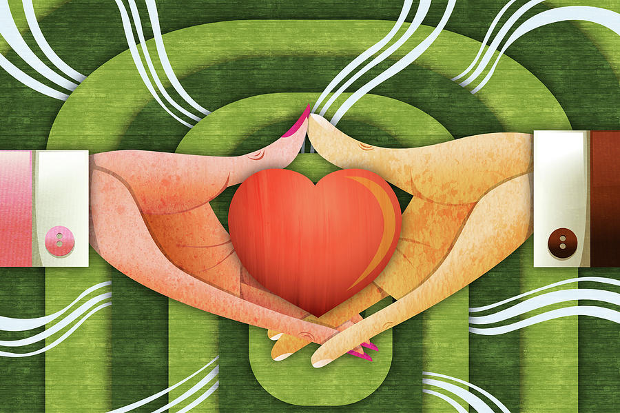 Affection Photograph - Illustration Of Hands With Heart by Fanatic Studio / Science Photo Library