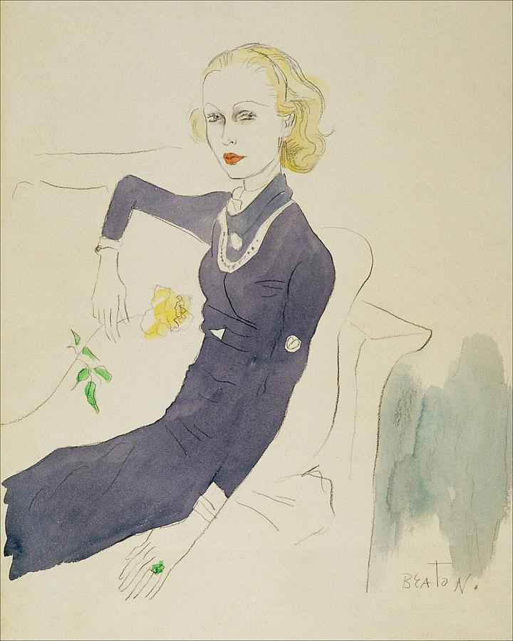 Illustration Of Lady Abdy Sitting On Sofa Digital Art by Cecil Beaton