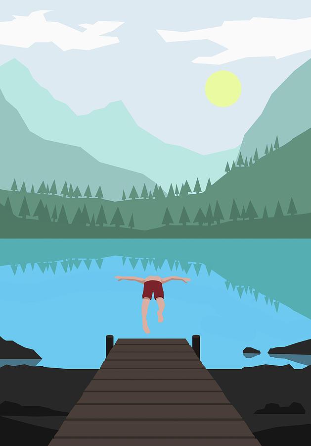 Illustration Of Man Diving Into Lake Digital Art by Malte Mueller