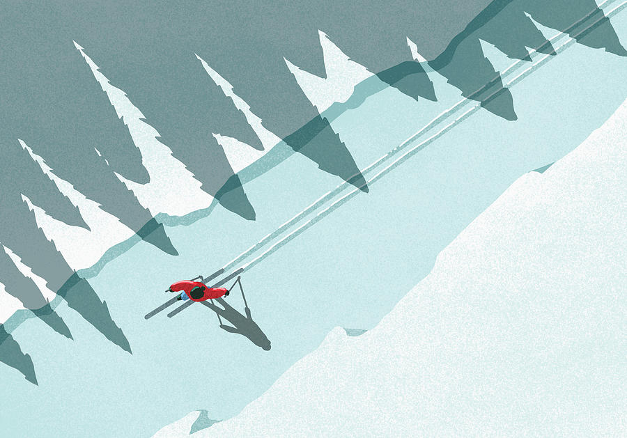 Illustration Of Man Skiing During Digital Art by Malte Mueller