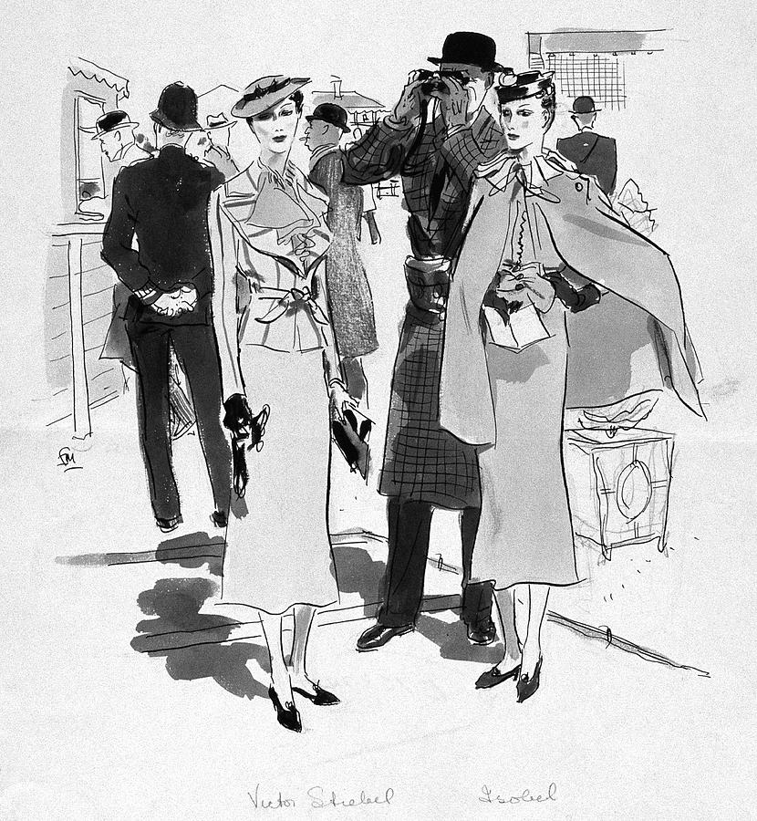 Illustration Of Men And Woman At The Races Digital Art by Francis Marshall