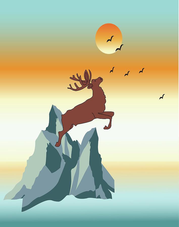 Illustration Of Moose Digital Art by Simona Dumitru