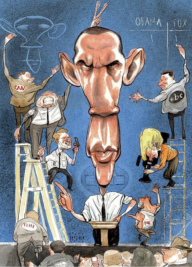 Illustration Of Obama Giving A Speech Digital Art by Steve Brodner