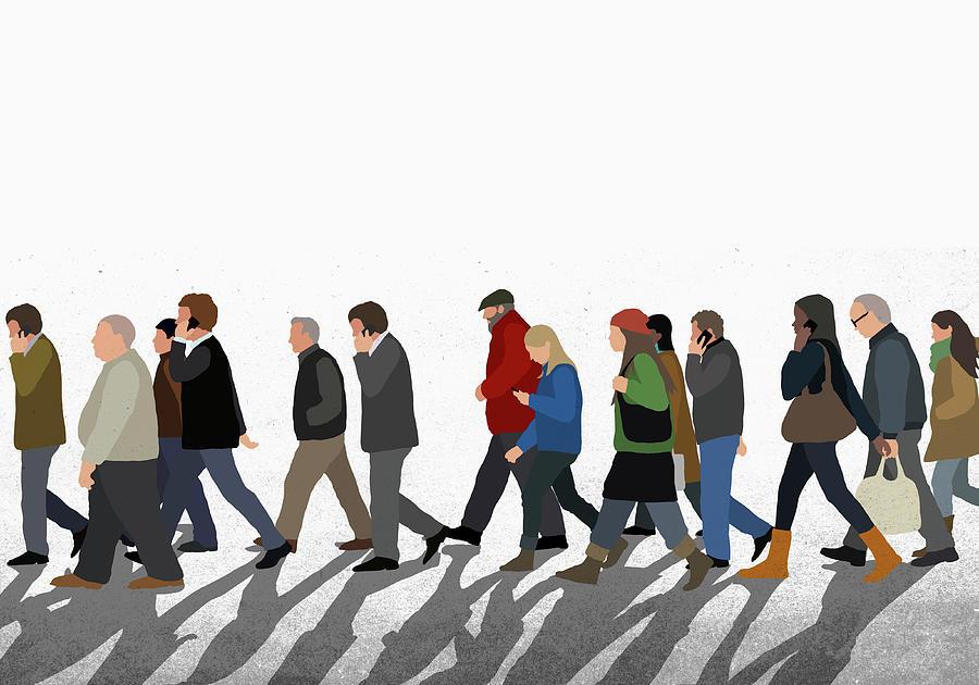 Illustration Of People Walking On Digital Art by Malte Mueller