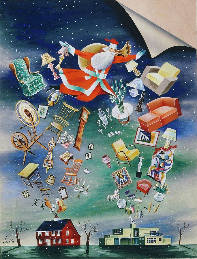 Illustration Of Santa Claus Painting by Constantin Alajalov