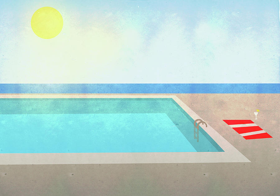 Illustration Of Swimming Pool On Sunny Digital Art by Malte Mueller