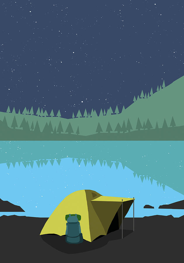 Illustration Of Tent At Lakeshore Digital Art by Malte Mueller