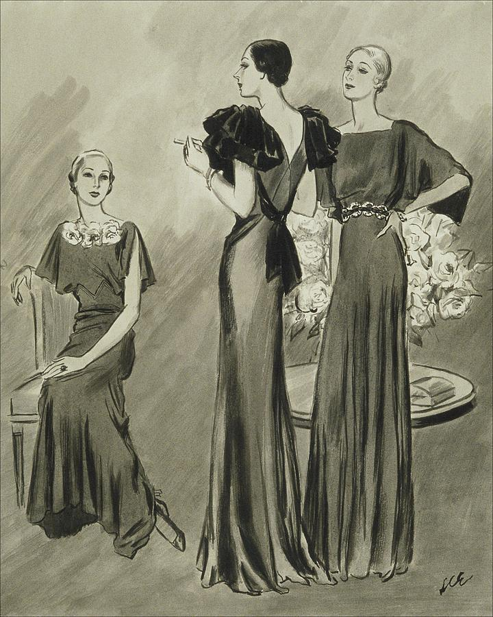 Illustration Of Three Models In Evening Gowns Digital Art by Creelman