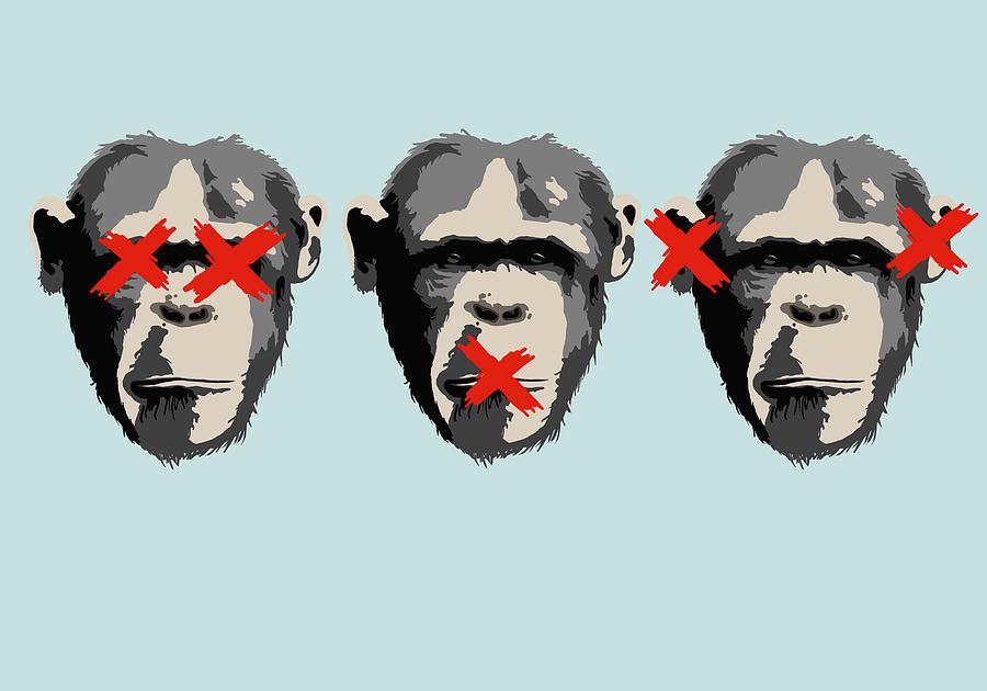 Illustration Of Three Monkeys Digital Art by Malte Mueller