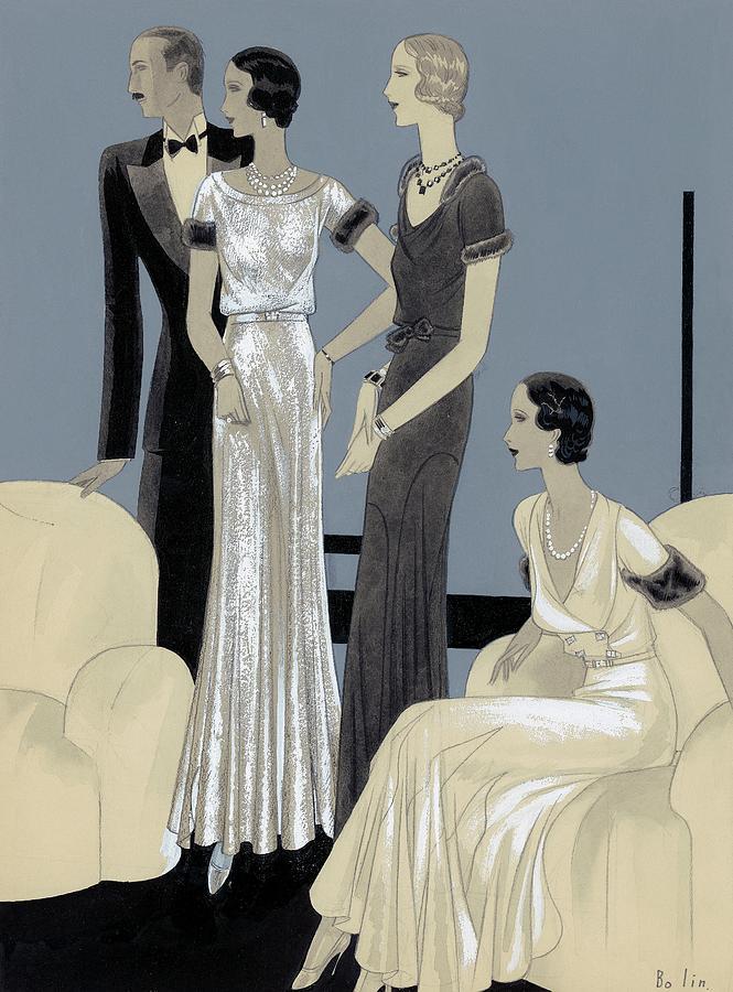 Illustration Of Three Women And Man In A Sitting Digital Art by William Bolin