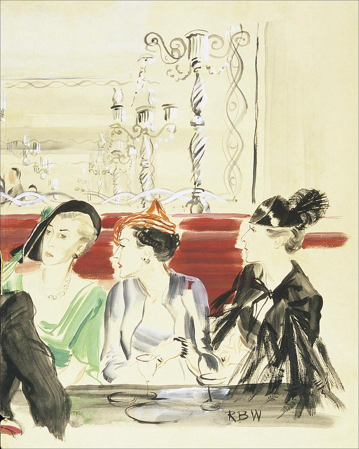Illustration Of Three Women Wearing Designer Hats Digital Art by Rene Bouet-Willaumez
