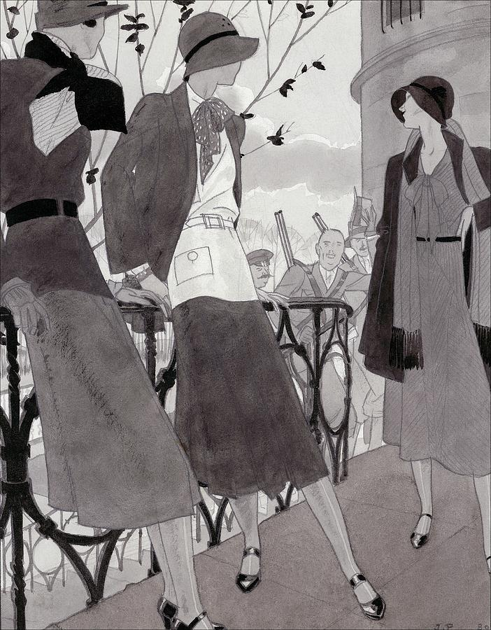 Illustration Of Three Women Wearing Stylish Suits Digital Art by Jean Pages